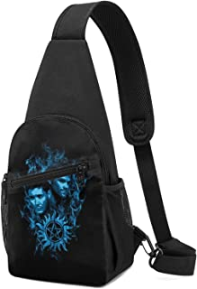 Hdadwy Sam and Dean Blue Flame Supernatural Sling Mochila Sling Bag Black Crossbody Daypack Mochila informal Bolsa de pech...