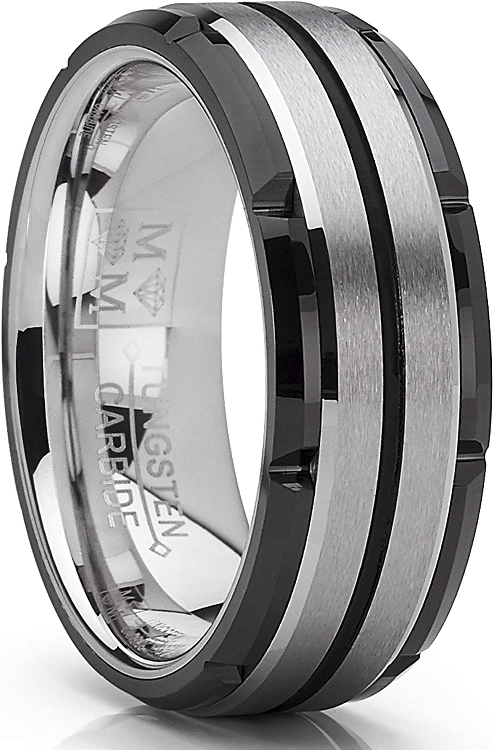 Metal Masters Co. Men's Tungsten Carbide Wedding Band Flat Top Brushed Two Tone Black Ring 8mm