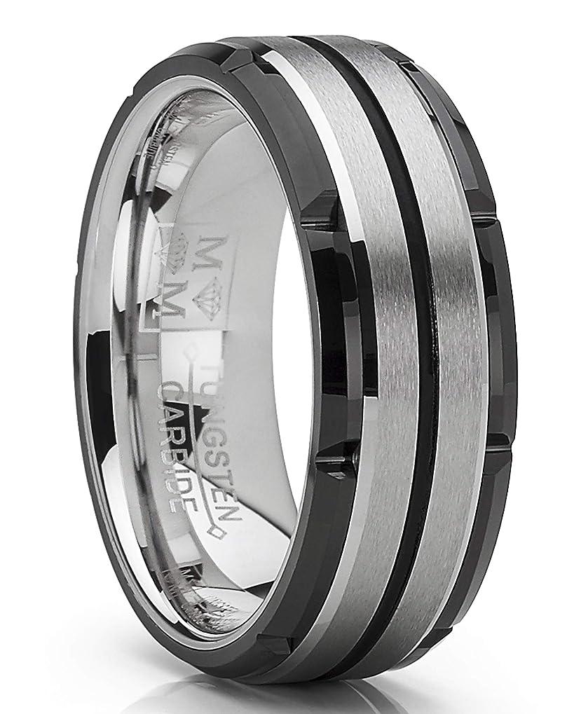 増強九マウントMetal Masters Co. メンズ タングステンカーバイド 結婚指輪 フラットトップ つや消しツートンブラック 8mm