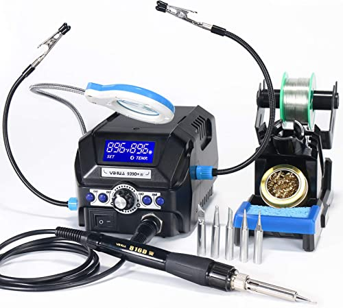 new arrival Yihua 939D+ III Efficient Soldering Station, 75W Equivalent with 4 Memories, Dual outlet sale ℉/℃ Display System, 392~896℉ Adjustable, Sleep mode, Ultra compact Design.Plus Helping Hands and a online LED Magnifying Lens outlet sale