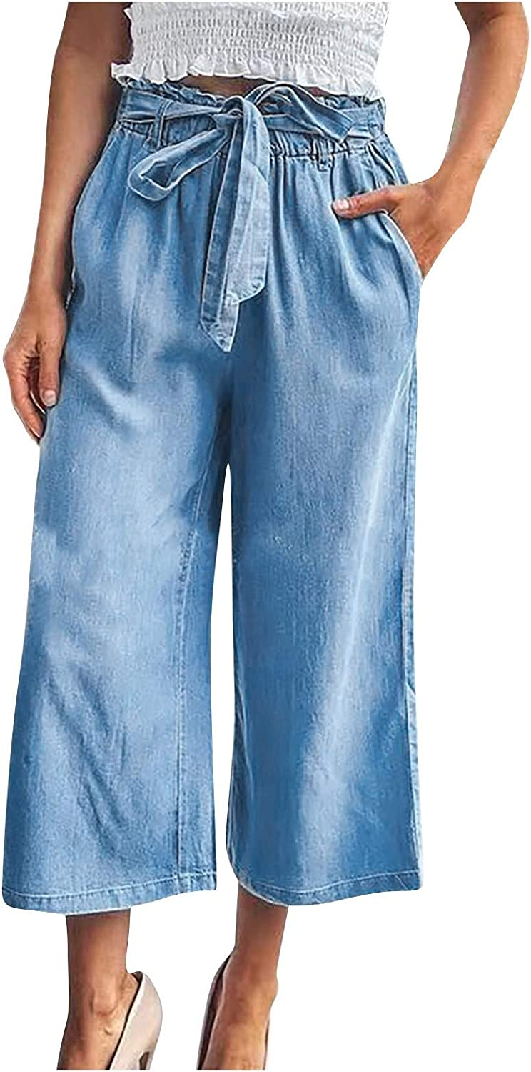 Amazingdays Womens high Waisted Baggy Jeans Capri Wide Leg Blue Jeans for Women Casual Lace Up Jeans