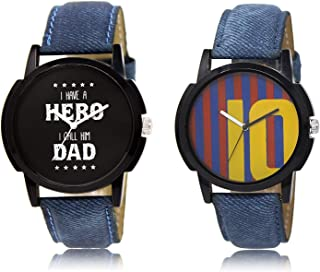 New Raiyaraj Embroidery Analogue Multicolour Dial Leather Belt Men's Watches Combo-NRE-178