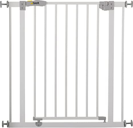 Hauck Safety Gate For Doors And Stairs Open N Stop Pressure Fit 75 80 Cm Large Extendable With Separate Extensions Metal White Amazon Co Uk Baby Products