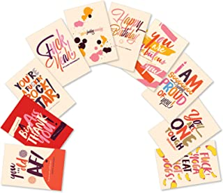 NobleWorks, Offensive Delightful Notes - Box of 10 Mixed Occasion Greeting Cards with Envelopes - Assorted Adult Profanity Notecards AC6333XXG-B1x10