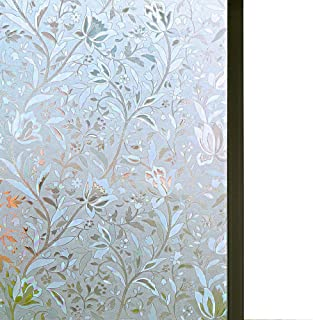 Niviy Excellent Quality 3D Static Cling Window Film Non-Adhesive Window Covering Decorative Flower Privacy Film for Window...