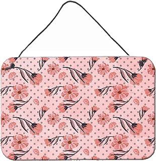 "Caroline's Treasures Pink Flowers and Polka Dots Metal Print, 8"" H x 12"" W, Multicolor"
