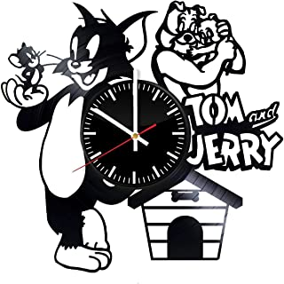 Tom and Jerry Vinyl Record Wall Clock - Cat Mouse Tom and Jerry Art Room Nursery Decor Handmade Decoration Party Supplies Theme - Best Original Vintage Modern Present Gift Idea
