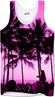 BANG TIDY CLOTHING Mens Vests Gym Workout Printed Tank Top Ibiza Palm Trees Summer Holiday Clothes,White,X-Large