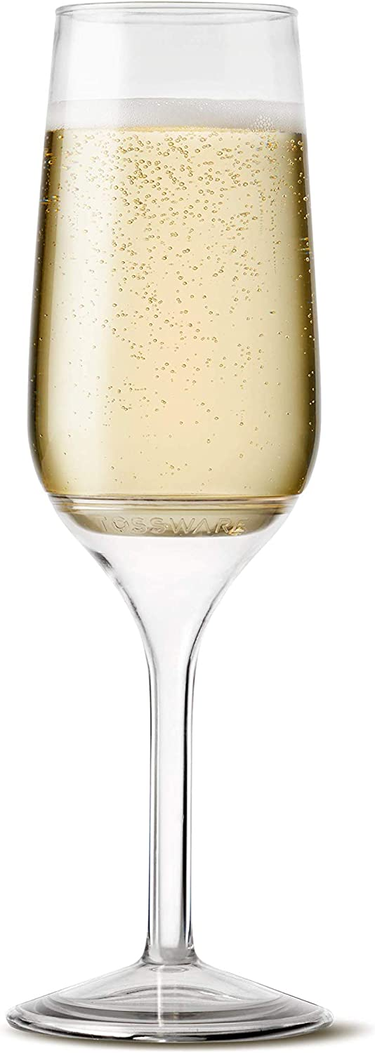 TOSSWARE 6oz Stemmed Flute - recyclable champagne plastic cup - SET OF 48 - detachable stem, shatterproof and BPA-free flute glasses
