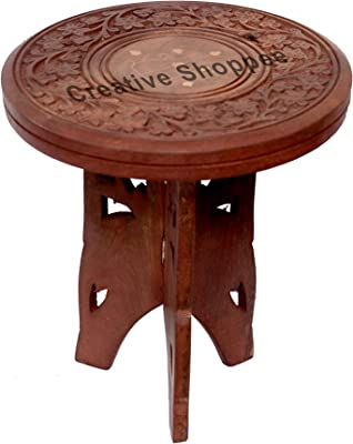 Creative Shoppee Folding Table with Handicrafted and Brass Work Small (9 inch)
