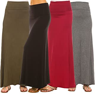 Women's 4-Pack Trendy Rayon Span Fold Over Maxi Skirt -...