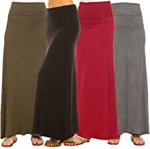 Isaac Liev Women's 4-Pack Trendy Rayon Span Fold Over Maxi Skirt