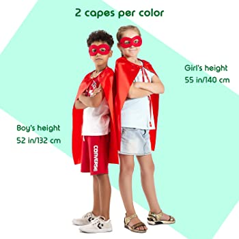Superhero Capes and Masks, 24 Sets Bulk Pack DIY Super Hero Costume for Big Party, Dress Up Super Hero Capes Set with...