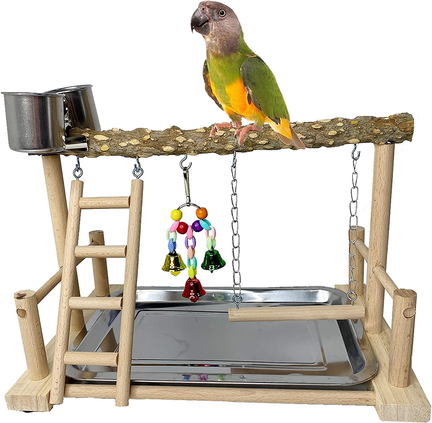 kathson Parrots Low Max 70% OFF price Playground Bird Perch with Wood Stand Playstand