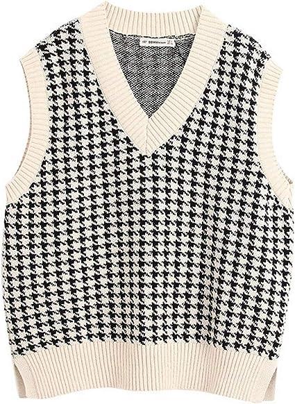 RK-HYTQWR Chaleco de Punto a Cuadros de Pata de Gallo para Mujer, sin Mangas, con Cuello en V, suéter Suelto, Camiseta sin Manga