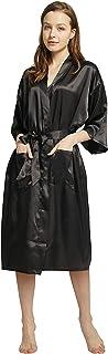 Cityoung Womens Silk Robe Satin Long Kimono Bathrobe Bridesmaids Lingerie Robe Ladies Sleepwear