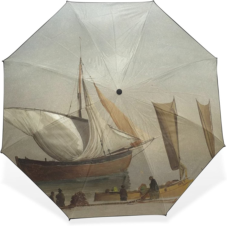 JSTEL Sailboat Sea Windproof & Waterproof Compact Travel Umbrella AntiUV Predective Canopy Parasol UPF 50+ Sun Block Umbrella Summer Shady Folding Sun Umbrella