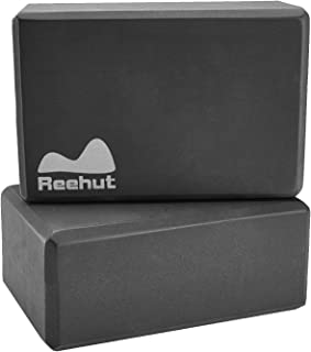 REEHUT Yoga Blocks 1-PC/ 2-PC, High Density EVA Foam Blocks to Support and Deepen Poses, Improve Strength and Aid Balance and Flexibility - Lightweight, Odor Resistant