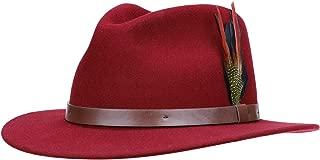Fedora for Men Women Wool Felt Camel Red Panama Hat Classic Wide Brim Vintage
