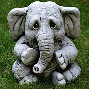 AMHLO Elephant Statues for Garden Decor - Elephant Baby Statue Yard Art Outdoor - Housewarming Decoration Garden Gift