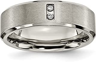 Titanium Diamonds 7mm Wedding Ring Band Man Fancy Fashion Jewelry Dad Mens Gift Set