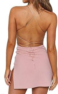 Eliacher Backless Dress Women's Spaghetti Strap Sexy Clubwear Bodycon Mini Dress