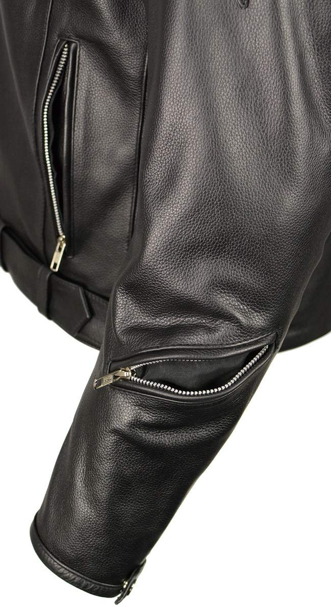M Boss Motorcycle Apparel BOS11505 Men's Black Armored Vented Leather Jacket with Side Set Belt - 4X-Large