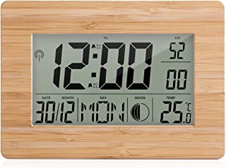 Tykeed Atomic Clock LCD Digital Calendar Alarm Day Clock Dual Alarm Color with Snooze Big Size Number Multifunction Temper...