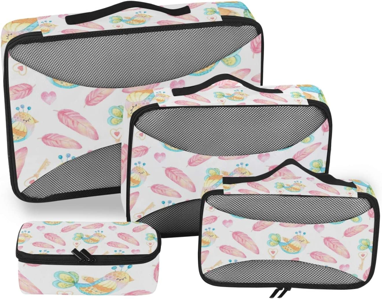 Feathers And Birds Packing Cubes 4-Pcs Free shipping / New Accessor Brand new Organizer Travel