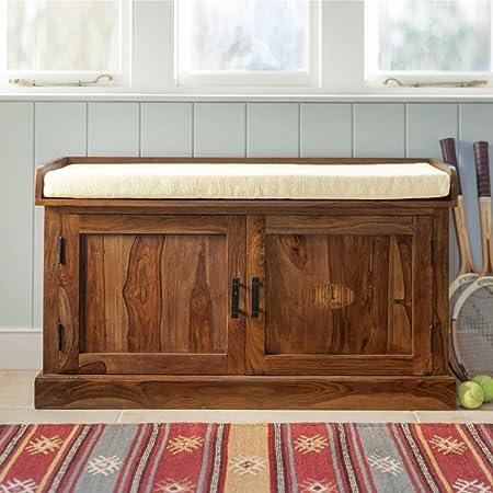 ANGEL FURNITURE Hallway Sheesham Wood Shoe Rack Enclosed Storage Seat Honey Finish , 2 Doors