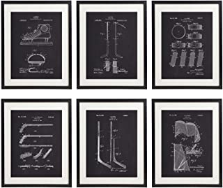 IDIOPIX Ice Hockey Patent Prints Home Decor Chalkboard Art Print Set of 6 Prints UNFRAMED No.1