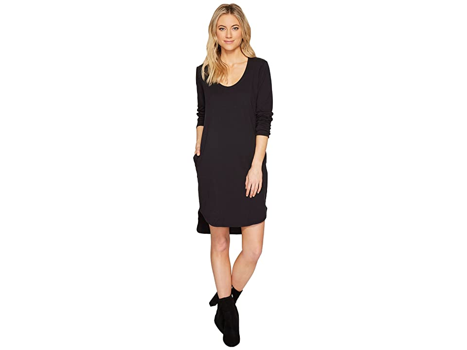 HEATHER Cotton French Terry Long Sleeve Scoop Dress (Smoke) Women