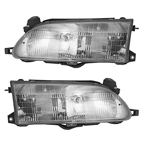 Driver and Passenger Headlights Headlamps Replacement for Toyota 81150-1A491 81110-1E221