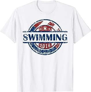 American Flag Swimming Crest Shirt, USA Gift, Swim Team