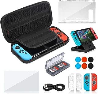 Nintendo Switch ケース 16in1セット【収納ケース+超薄分体式カバー+極薄保護フィルム 1枚+JoyCon専用カバー+ゲームカードケース + usb C充電ケーブル+プレイスタンド】