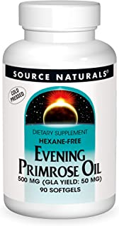 Source Naturals Evening Primrose Oil - Hexane-Free - 500mg - GLA Yield: 50 mg - Cold-Pressed - 90 Softgels