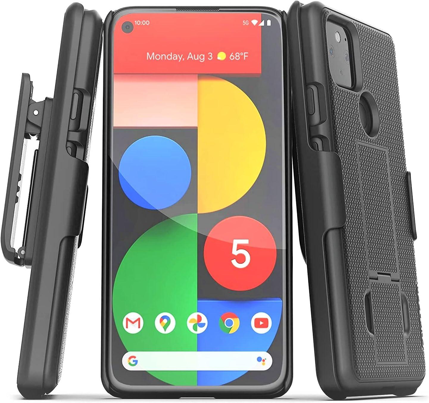 Encased Pixel 5 Belt Clip Case (2020 DuraClip) Slim Cover with Holster for Google Pixel 5 Phone - Black