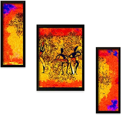 Paper Plane Design Abstract - Dance Framed Painting Set of 3 Pieces (14 in x 22 in) (Design-002)