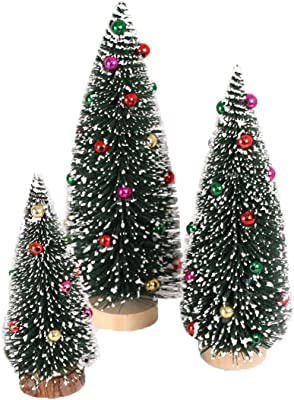 259f9a342c1c Asrlet Lovely Artificial Mini Christmas Tree Flocking Sticky Beads Xmas Tree  Festival Home Decor (30cm
