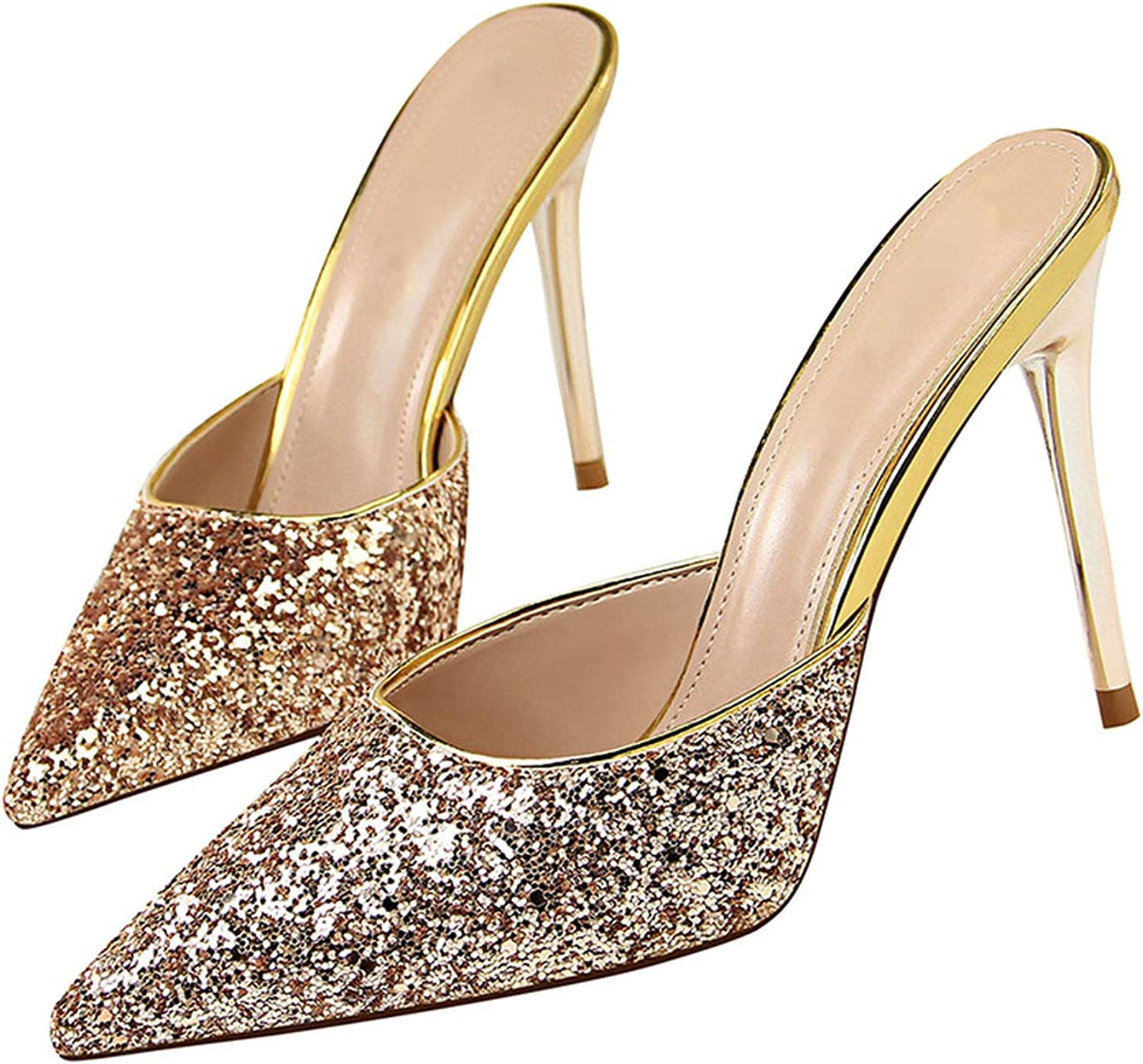 Smile-bi New Women Crystal Ankle Strap Bling Metal Decoration shoes Woman Pointed Toe Thin Heels