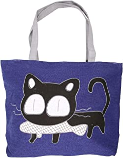 Cute Cat Handbag Large Canvas Tote Bag Reusable Grocery Beach Bag Shopping Bag With Zipper For Women And Girls(Blue)