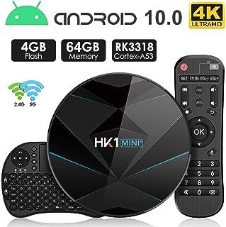Android 9.0 TV Box 【4GB RAM 64GB ROM】 HK1 Dual-WiFi 2.4G/5.0G Android Box RK3318 Quad-Core Cortex-A53 64Bits BT 4.0 3D 4K Ultra HD H.265 USB 3.0 Smart TV Box