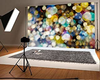 LFEEY 7x5ft Glitter Bokeh Halos Backdrop Sparkle Neon Spots Photography Background Kid Adult Birthday Party Decor Baby Shower Banner Studio Props Fashion Youngster Blog Web Online Celebrity Live Drops