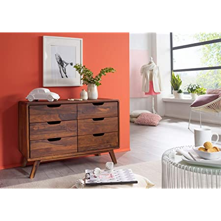 G Fine Furniture Chest of Drawers for Bedroom   Wooden Storage with 6 Drawers   Sheesham, Brown