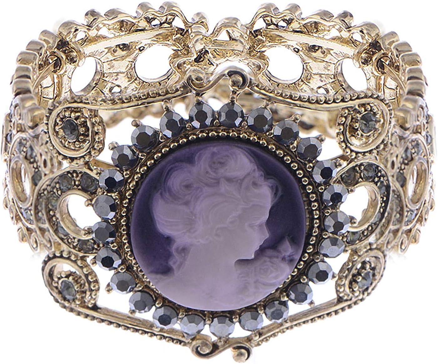 Alilang Womens Antique Golden Tone Purple Victorian Cameo Lady Bangle Bracelet