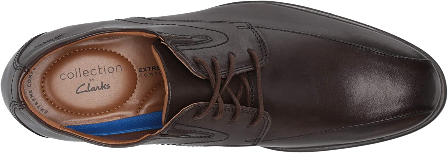 Clarks Men's Whiddon Pace Oxford, Dark Brown Leather, 12 Wide