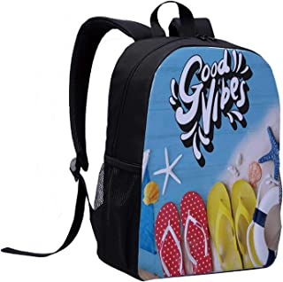 Good Vibes College Backpack,Flip Flops and Ocean Marine Shells on Wooden Planks Summer Holiday Essentials Decorative for Picnic,12