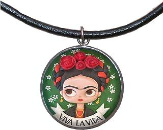 Ciondolo in acciaio inossidabile, 30mm, cordoncino di cuoio, fatto a mano, illustrazione Frida Viva la Vida