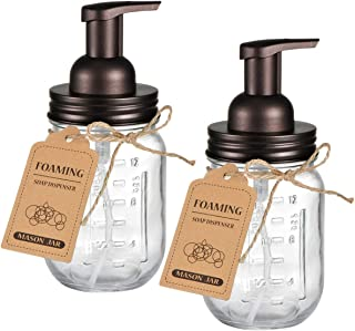 Amolliar Mason Jar Foaming Soap Dispenser - Rustproof Stainless Steel Lid/BPA Free Foam Pump,with Chalkboard Labels - Rustic Farmhouse Decor Hand Soap Dispenser Bathroom Accessories – Bronze (2 Pack)