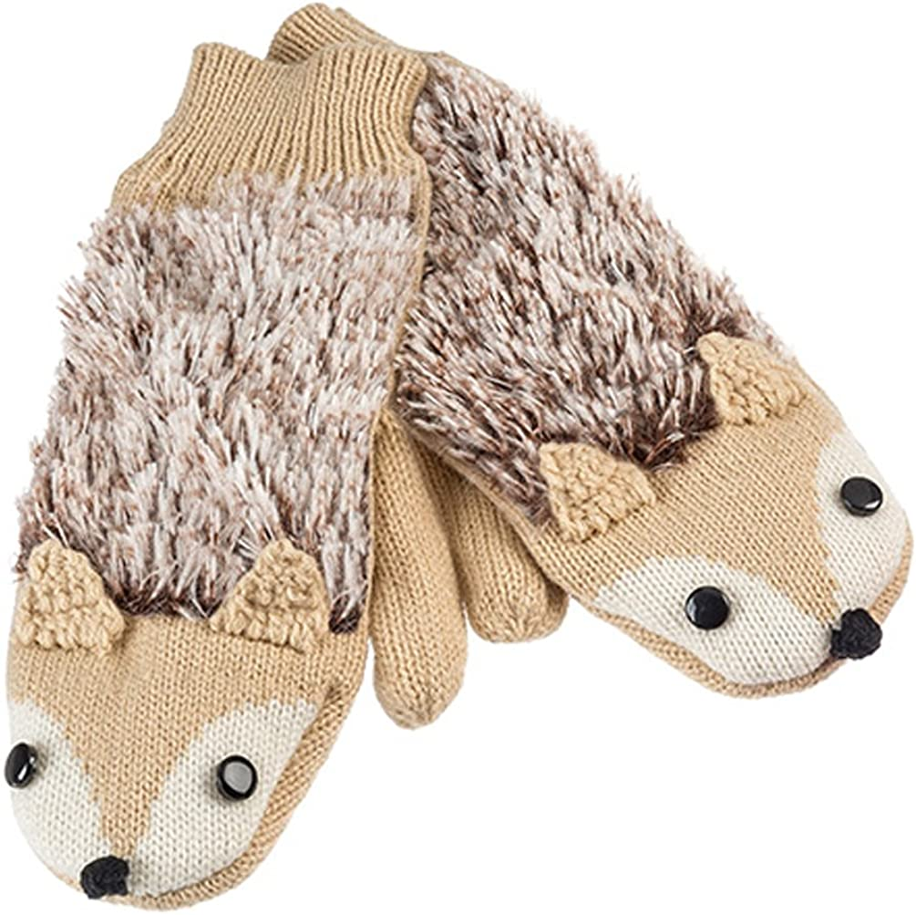 Brown Fox Warm and Soft Knit Critter Mittens